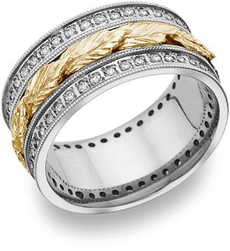 Floral Leaf Diamond Wedding Band in 14K Two-Tone Gold