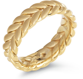 Wreath Wedding Band, 14K Yellow Gold