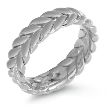 Wreath Wedding Band Ring, 14K White Gold