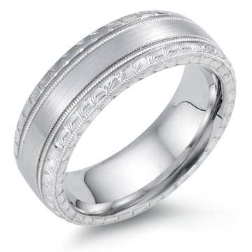 Designer Engraved Wedding Band, 14K White Gold