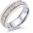 Designer Braided Wedding Band, 14K Two-Tone Gold