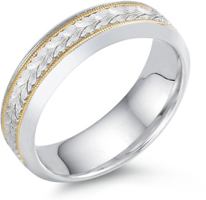 Leaf Engraved Wedding Band, 14K Two-Tone Gold
