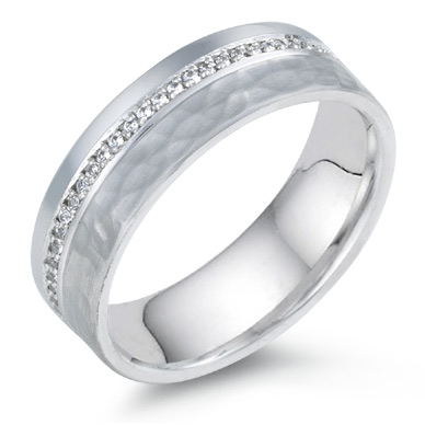 3/4 Carat Diamond Hammered Wedding Band, 14K White Gold