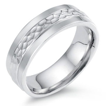 Hammered Design Wedding Band, 14K White Gold