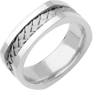 Square Braided Wedding Band, 14K White Gold