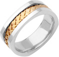 Square Braided Wedding Band, 14K Two-Tone Gold