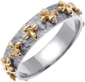 Buy Fleur-de-Lis Wedding Band Ring, 14K Two-Tone Gold