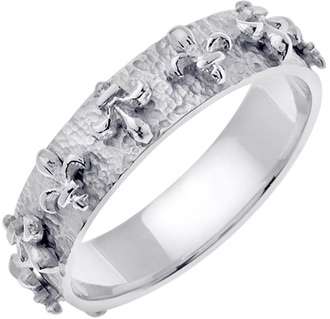 Buy Fleur-de-Lis Wedding Band Ring, 14K White Gold
