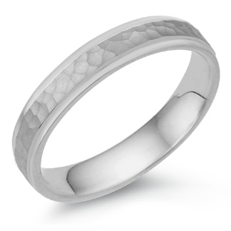 4mm Hammered Wedding Band, 14K White Gold
