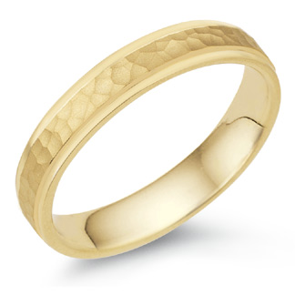 Buy 4mm Hammered Wedding Band, 14K Yellow Gold