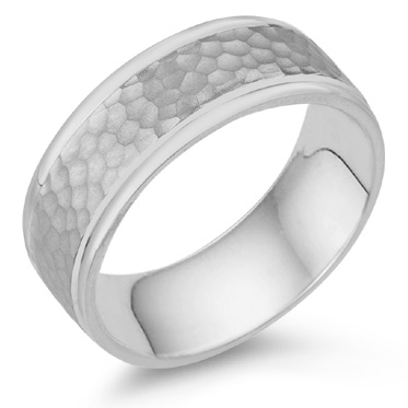 8mm Hammered Wedding Band Ring in 18K White Gold