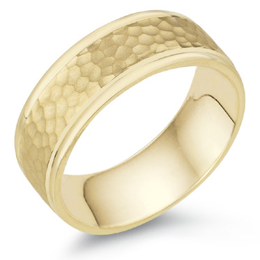 8mm Hammered Wedding Band, 14K Yellow Gold