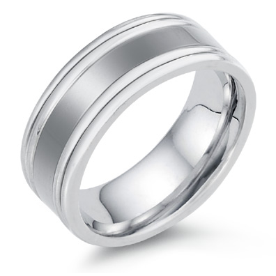 A sculpted Wedding band that has double edges in 14k white gold
