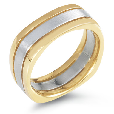 Square Wedding Band Ring 14k Two Tone Gold