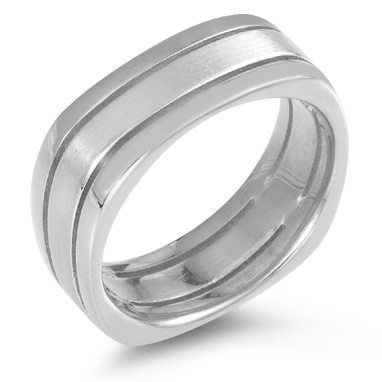 Square Design Wedding Band in 18K White Gold