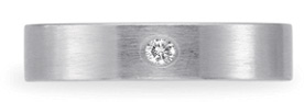 Benchmark Satin-Finished Diamond Wedding Band, 14K White Gold (4mm)