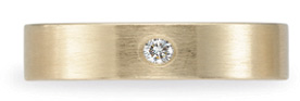 Benchmark Satin-Finished Diamond Wedding Band, 14K Gold (4mm)