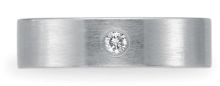Benchmark Satin-Finished Diamond Wedding Band, 14K White Gold