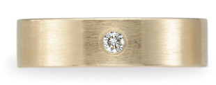 Benchmark Satin-Finished Diamond Wedding Band, 14K Gold