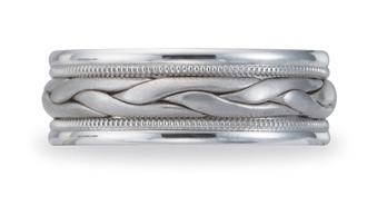 Benchmark Braided Wedding Band, 8mm, 14K White Gold