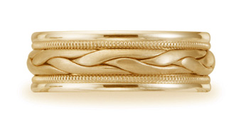 Buy Benchmark Braided Wedding Band, 8mm, 14K Yellow Gold
