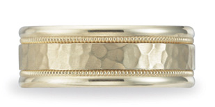 Benchmark Hammered Wedding Band, 8mm, 14K Yellow Gold (Apples of Gold)
