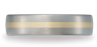 Benchmark Titanium and 18K Gold Satin Wedding Band