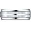 Platinum Gold 8mm Comfort-Fit Drop Bevel Satin Center Cut Design Band