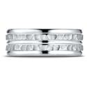 Platinum Comfort-Fit Hammered Polish-Trim Wedding Band Ring