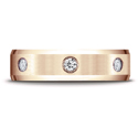 14K Rose Gold Satin Center Burnish Set 3-Stone Diamond Wedding Ring (.18ct)
