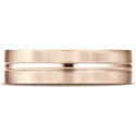 14K Rose Gold Satin-Finished with High Polished Center Carved Wedding Band