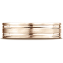 14K Rose Gold 6mm Comfort-Fit Satin-Finished with Parallel Grooves Carved Design Band