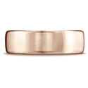 14K Plain Rose Gold Plain 7.5mm Comfort-Fit Satin Finish Wedding Band Ring