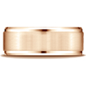 14K Rose Gold 8mm Satin-Finished Beveled Wedding Band Ring
