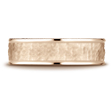 Hammered Comfort Fit High Polish Edge Wedding Band in 14K Rose Gold
