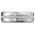 14K White Gold 7.5 mm Satin Finish Pave Set  Diamond Wedding Band Ring