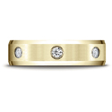 Satin Center Burnish Set 3-Stone Diamond Wedding Band Ring, 14K Yellow Gold