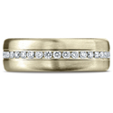 14K Yellow Gold 7.5 mm Satin Finish Pave Set  Diamond Wedding Band
