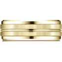 10K Yellow Gold 8mm Comfort-Fit Drop Bevel Satin Center Cut Design Band
