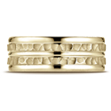 Comfort-Fit Hammer-Finished Polished Trim Wedding Ring, 14K Yellow Gold