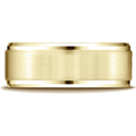 14K Yellow Gold 8mm Satin-Finished Beveled Wedding Band Ring
