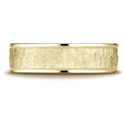 Hammered Comfort Fit High Polish Edge Wedding Band in 14K Yellow Gold