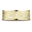 18K Yellow Gold Comfort Fit 8mm High Polish Edge Hammered Band