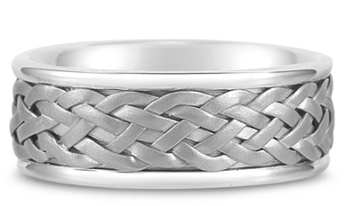 Weaved Wedding Band in 18K White Gold