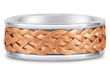 Weaved Wedding Band in 14K White and Rose Gold