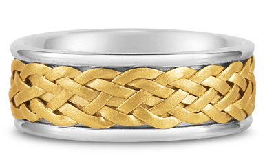 Weaved Wedding Band in 14K Two-Tone Gold