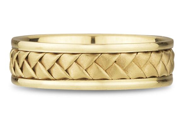 18K Yellow Gold Braided Wedding Band (6mm)