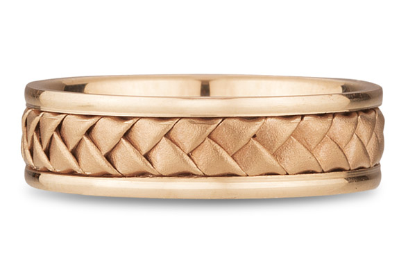 18K Rose Gold Braided Wedding Band (6mm)