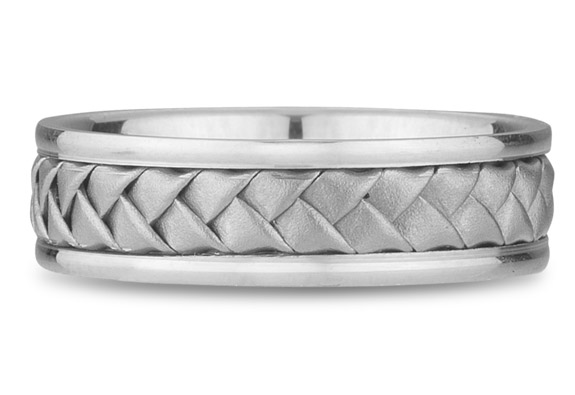18K White Gold Braided Wedding Band (6mm)