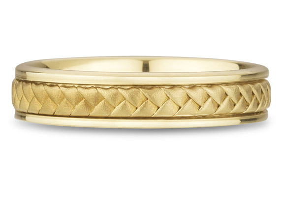 18K Yellow Gold Braided Wedding Band (5mm)